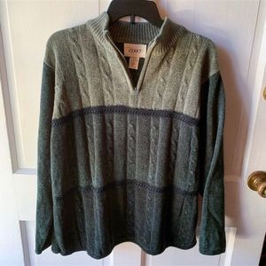 Vintage Jenny Green Collared Zip Fuzzy Sweater